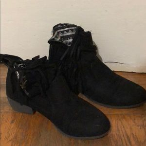 Black Tassle Ankle Booties